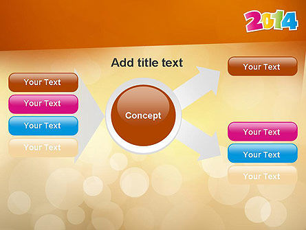 Colorful Happy New Year 2014 PowerPoint Template Slide 14