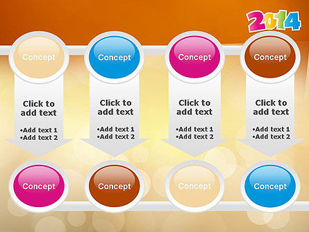 Colorful Happy New Year 2014 PowerPoint Template Slide 18