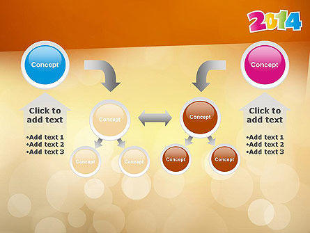 Colorful Happy New Year 2014 PowerPoint Template Slide 19