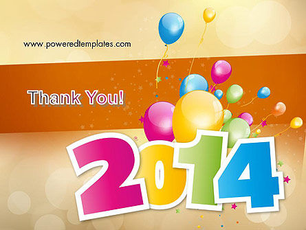 Colorful Happy New Year 2014 PowerPoint Template Slide 20