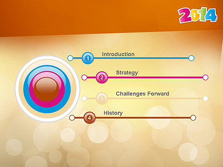 Colorful Happy New Year 2014 PowerPoint Template, Slide 3, 11519, Holiday/Special Occasion — PoweredTemplate.com