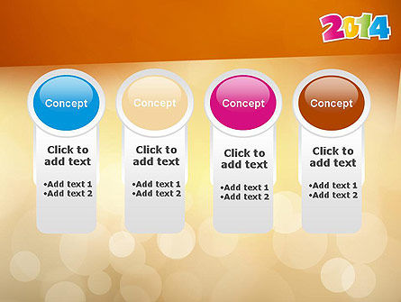 Colorful Happy New Year 2014 PowerPoint Template Slide 5