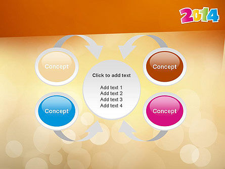 Colorful Happy New Year 2014 PowerPoint Template Slide 6