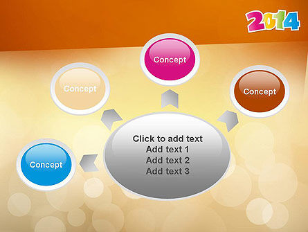 Colorful Happy New Year 2014 PowerPoint Template Slide 7