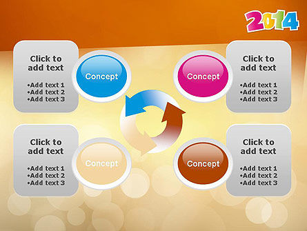 Colorful Happy New Year 2014 PowerPoint Template Slide 9