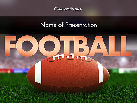 Sports: American Football on Grass PowerPoint Template #11524
