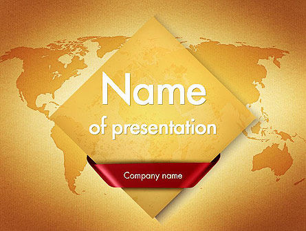 Global: World Map in Sand Colors PowerPoint Template #11525