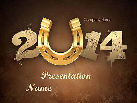 Holiday/Special Occasion: 2014 with Golden Horseshoe PowerPoint Template #11527