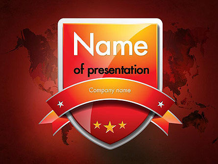 World Map Shield PowerPoint Template, 11533, Global — PoweredTemplate.com