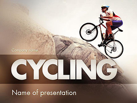 Biking Up Mountain PowerPoint Template, 11534, Sports — PoweredTemplate.com
