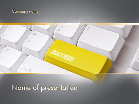 Business Concepts: Success Computer Button PowerPoint Template #11540