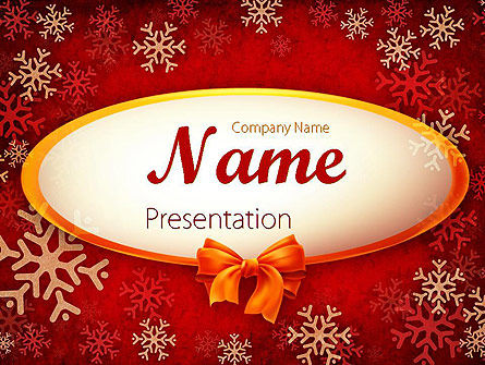 Snowflakes on Red Background PowerPoint Template