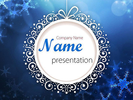 Holiday/Special Occasion: Blue Snowflakes Background PowerPoint Template #11558