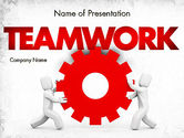 Business Concepts: People With Gear PowerPoint Template #11572