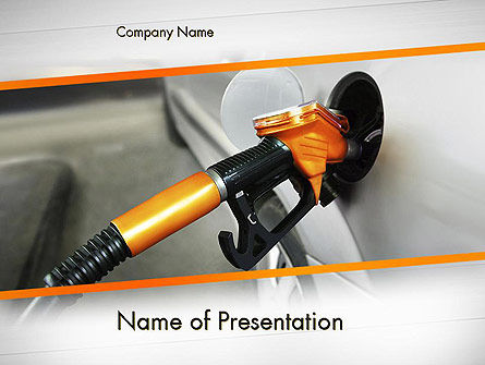 Car Being Filled With Gas PowerPoint Template