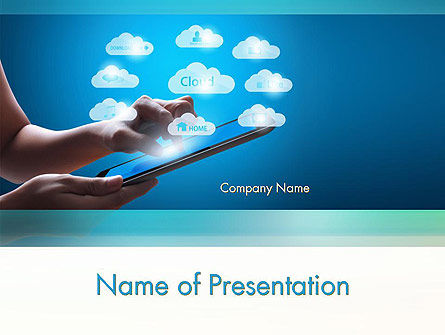 Cloud Applications PowerPoint Template, 11583, Technology and Science — PoweredTemplate.com