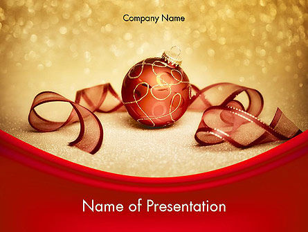 Holiday/Special Occasion: Red-gold Christmas Theme PowerPoint Template #11596