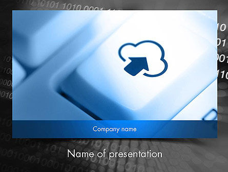 Upload to Cloud Button PowerPoint Template, 11598, Technology and Science — PoweredTemplate.com