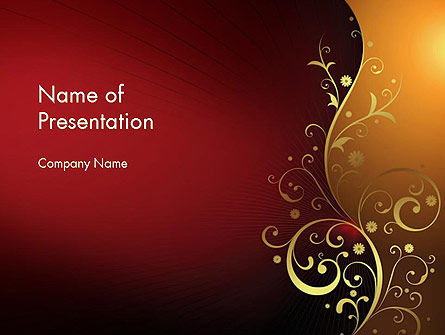 Abstract/Textures: Golden Pattern with Swirls PowerPoint Template #11623