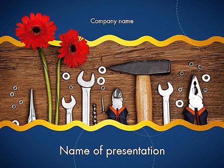 Careers/Industry: Flowers and Repair Tools PowerPoint Template #11627