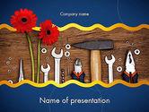 Flowers and Repair Tools PowerPoint Template#1