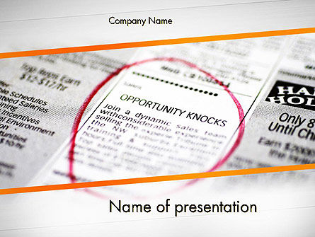 Opportunity Knocks PowerPoint Template, 11639, Careers/Industry — PoweredTemplate.com
