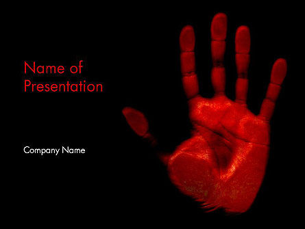 blood hand powerpoint template, backgrounds | 11640, Modern powerpoint