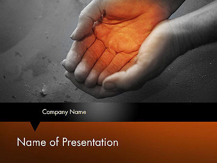 Religious/Spiritual: Hands with Light PowerPoint Template #11643