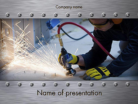 Utilities/Industrial: Pneumatic Grinder PowerPoint Template #11644