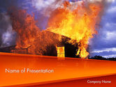 Careers/Industry: Burning House PowerPoint Template #11648