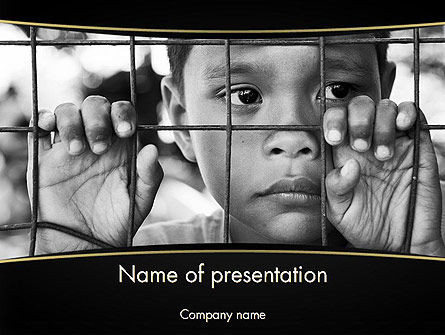 Kid Behind a Fence PowerPoint Template, 11657, Legal — PoweredTemplate.com