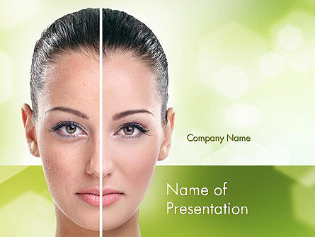 Woman Face Before and After PowerPoint Template, 11659, Careers/Industry — PoweredTemplate.com