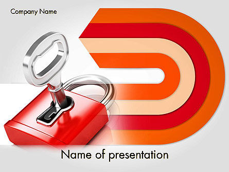 Business Concepts: Red Lock PowerPoint Template #11683