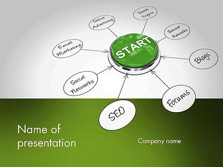Start SEO Campaign Button PowerPoint Template, 11696, Careers/Industry — PoweredTemplate.com