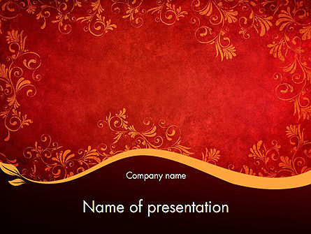 Red and Gold Floral Pattern PowerPoint Template, 11697, Abstract/Textures — PoweredTemplate.com