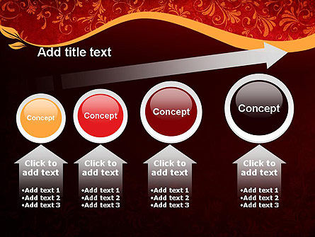 Red and Gold Floral Pattern PowerPoint Template Slide 13