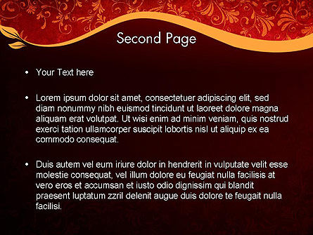 Red and Gold Floral Pattern PowerPoint Template, Slide 2, 11697, Abstract/Textures — PoweredTemplate.com