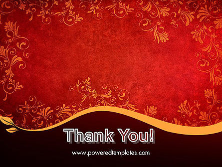 Red and Gold Floral Pattern PowerPoint Template Slide 20