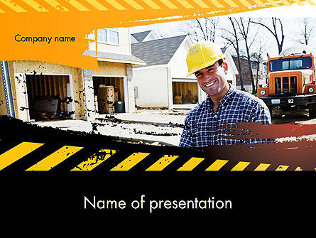 Smiling Builder PowerPoint Template, 11701, Careers/Industry — PoweredTemplate.com