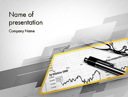 Business: Glasses and Pen Resting on a Report PowerPoint Template #11710