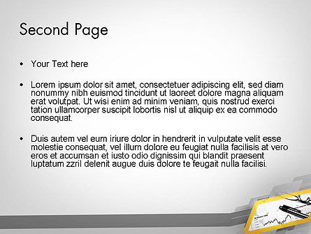 Glasses and Pen Resting on a Report PowerPoint Template Slide 2