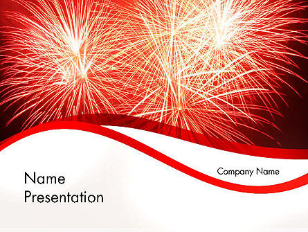Bright Fireworks PowerPoint Template, 11715, Holiday/Special Occasion — PoweredTemplate.com