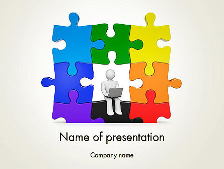 Stickman Sitting on Puzzle PowerPoint Template, 11741, Business Concepts — PoweredTemplate.com