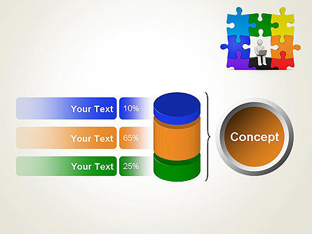 Stickman Sitting on Puzzle PowerPoint Template Slide 11