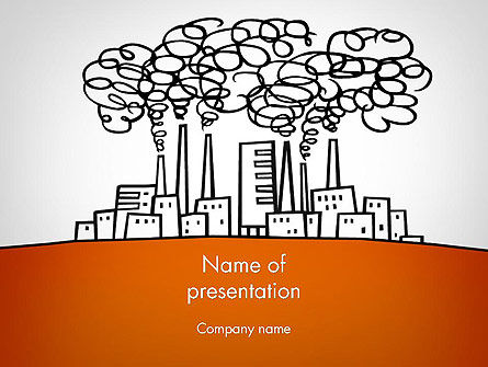 Utilities/Industrial: Factory Sketch PowerPoint Template #11754
