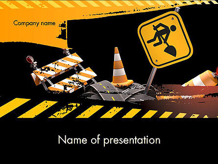 Concept Of Road Works Powerpoint Template Backgrounds