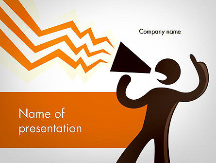 Careers/Industry: Guy with Megaphone PowerPoint Template #11793