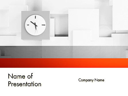 Business: Clock On Wall With Cubes PowerPoint Template #11804