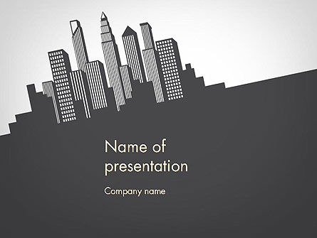 Construction: Downtown Silhouette PowerPoint Template #11811