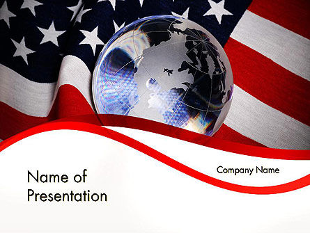 America: Globe and USA Flag PowerPoint Template #11843